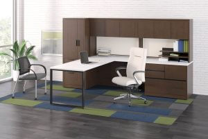 L Desk with Cabinets