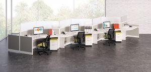 HON White Zig Zag Desks