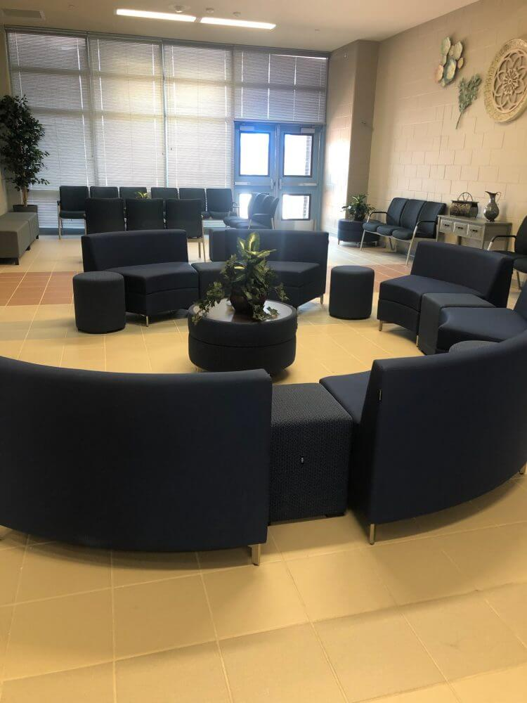 Install Curved Blue Couch