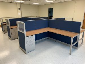 install blue L Desks